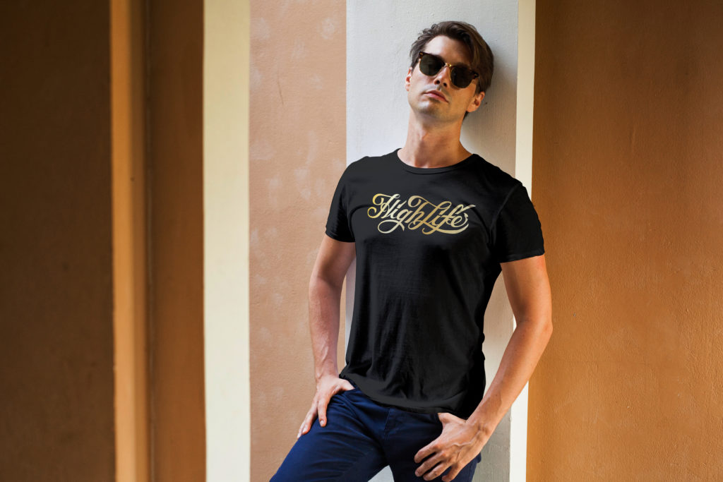 High Life Clothing | Gold on Black T-Shirt