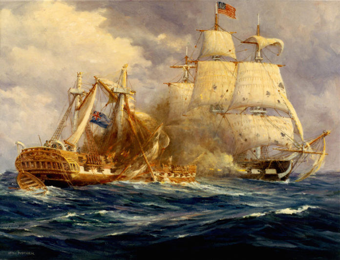 This painting by Anton Otto Fischer depicts the first victory at sea by the fledgling US Navy over the mighty Royal Navy.